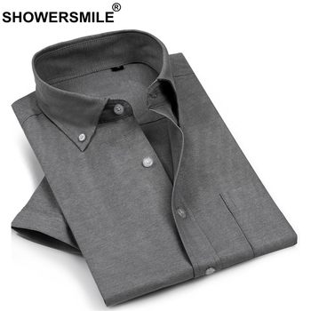 SHOWERSMILE Men Dress Shirts Solid Shirt Short Sleeve Gray Business Summer Cotton Big Size 4xl Formal Shirt Male Work Clothing