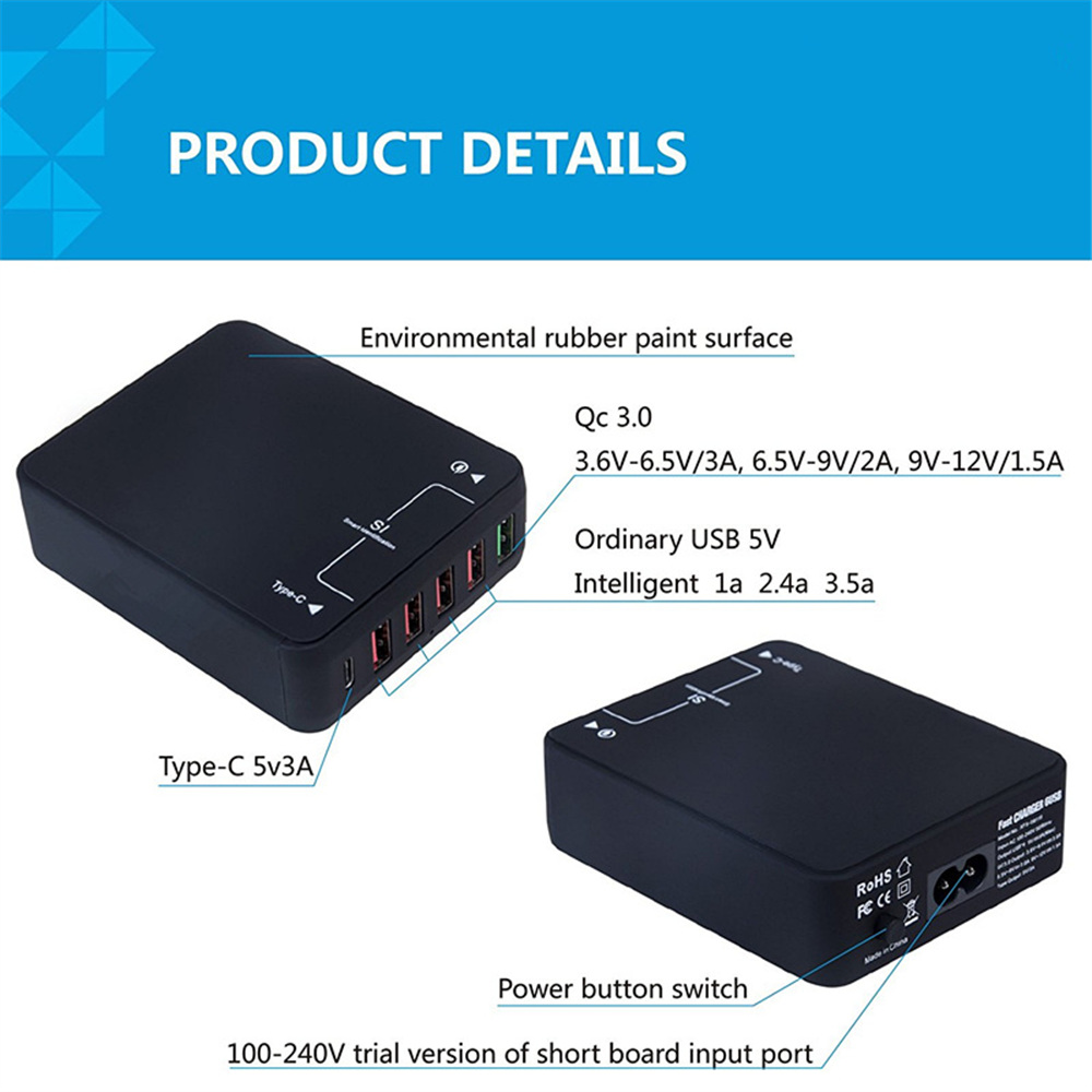 QC Quick <font><b>Charger</b></font> 3.0 Tech 35W 9V 12V 6 Ports USB Quick <font><b>Charger</b></font> With Type C port for Samsung S7 Edge Note5 <font><b>LG</b></font> <font><b>G5</b></font> Nexus 6 iPhone