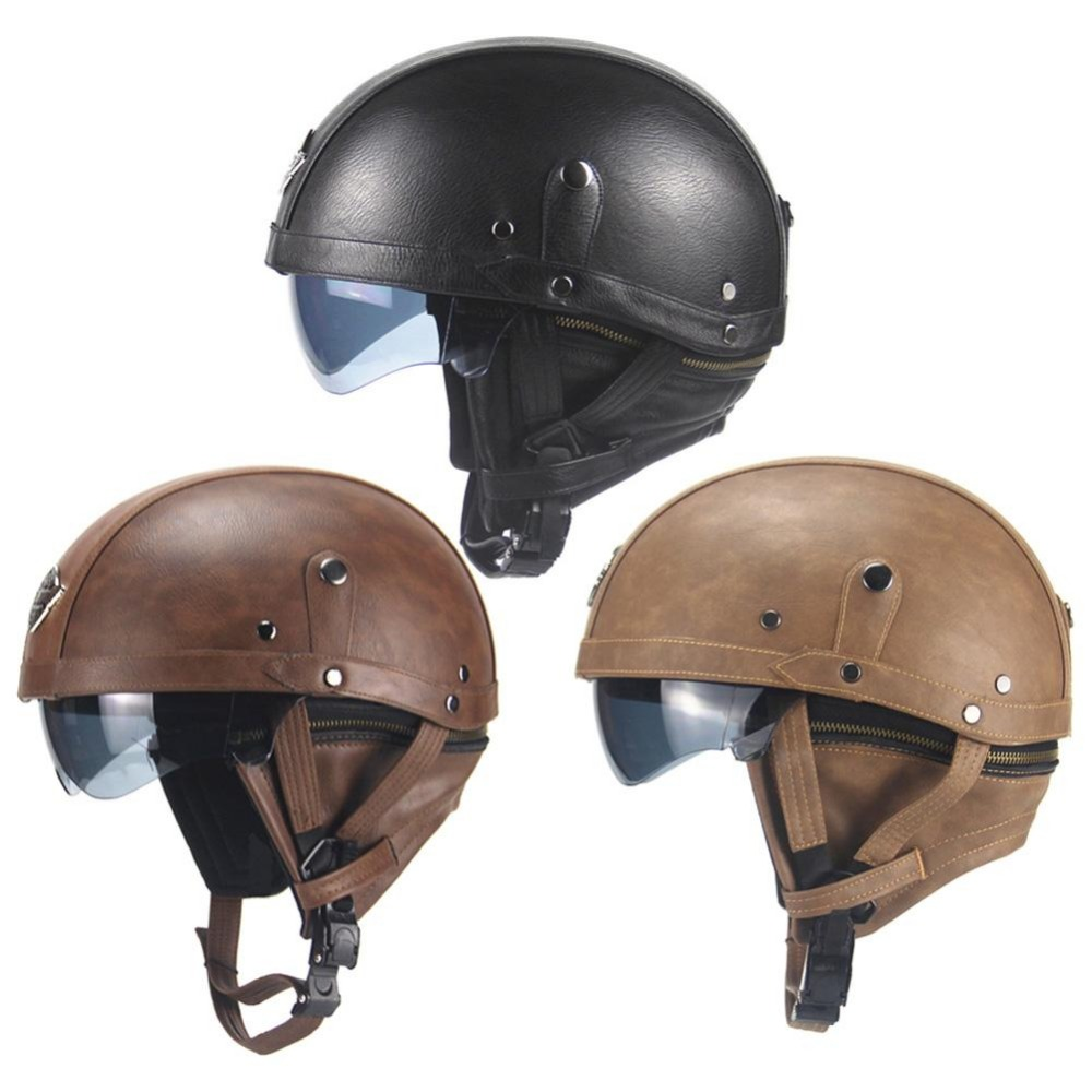 Harley motorcycle helmet retro personality helmet half-helmet summer pedal motorcycle cruiser leather helmet four seasons BrowmHarley motorcycle helmet retro personality helmet half-helmet summer pedal motorcycle cruiser leather helmet four seasons Browm