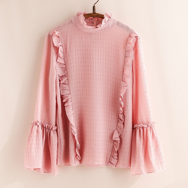 Spring Pleated Flare Sleeve Camicia Donna Chemise Femme Tunic Chiffon  Ladies Tops Cute Sweet Lolita Pink