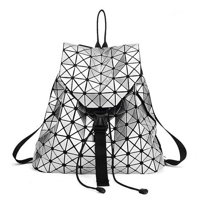 Высокое Качество, Модные Женщины рюкзак 2017 Серебряный геометрическая лоскутное решетки алмаза рюкзак drawstring mochila Ежедневно Рюкзаки