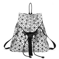High Quality Fashion Women Backpack 2016 Silver Geometric Patchwork Diamond Lattice Backpack Drawstring Mochila Daily