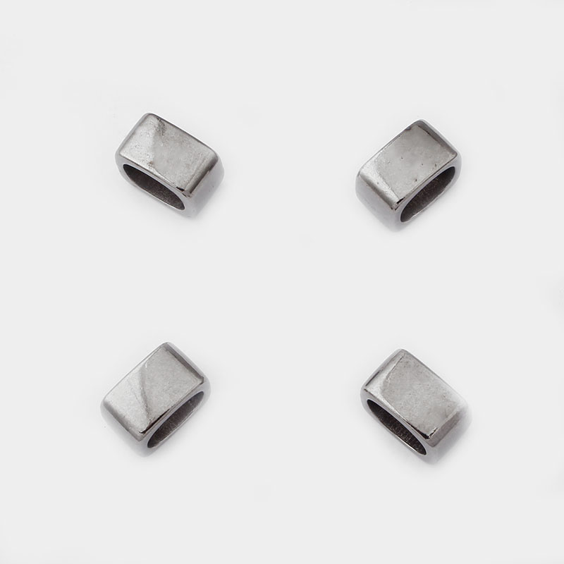 10pcs Gun Black Gunmetal Flat Slider Licorice Beads Spacer For 10 6mm Leather Cord Bracelet Jewelry Making Findings Material in Jewelry Findings Components from Jewelry Accessories
