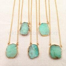 WT N753 natural chrysoprase pedra Verde colar pingente moda raw pedra pingente de colar com cadeia guarnição do ouro para a menina