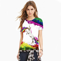 BJHOW T Shirt 3d Rainbow Pegasus Printer Tshirt Printed 2017 Summer Kawaii T Shirt Horse Clothes