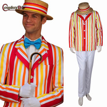 Cosplaydiy Mary Poppins Bert stripe Cosplay Costume for Men Halloween Carnival Party Cosplay Uniform Suit With