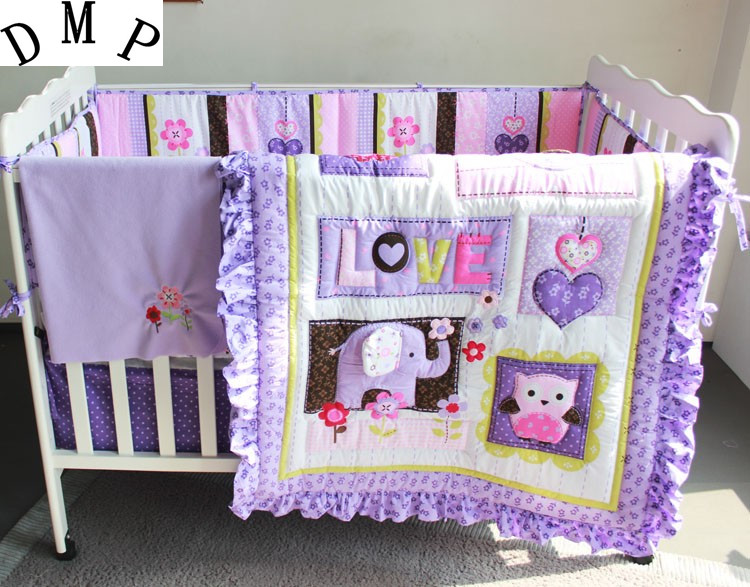 Promotion! 7PCS Purple Cotton Baby Bedding Sets Cut Animal Lovely Bumpers In The Crib,(bumper+duvet+bed cover+bed skirt) animal traction in the fadama