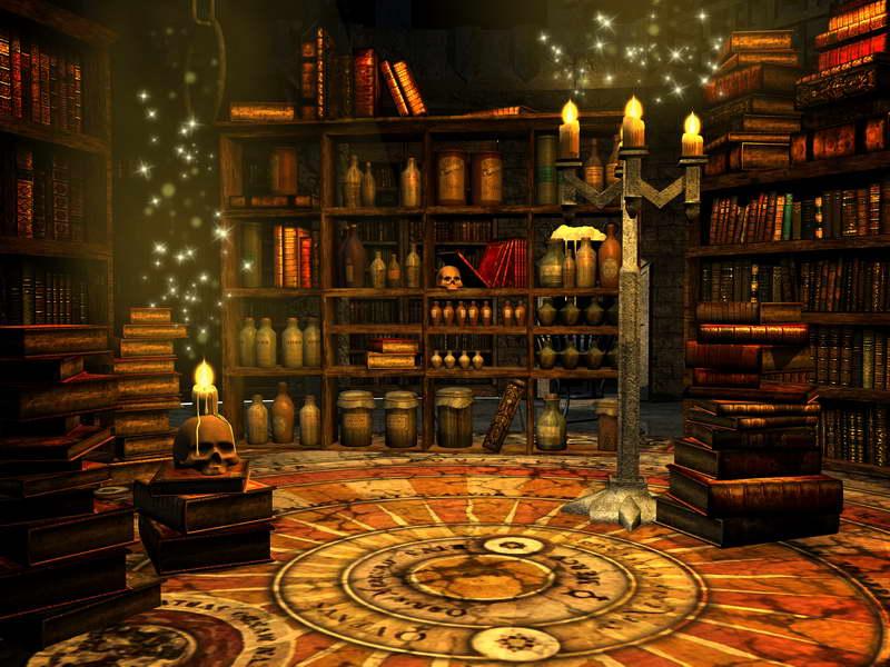 Library Room Skull Halloween Candles Bookcase Bookshelf