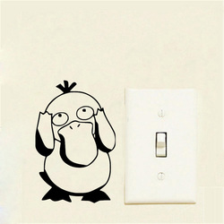 Funny Pokemon Psyduck Vinyl Switch Sticker Decorative Decals Striking Wall Stickers For Kids Rooms 2WS0160
