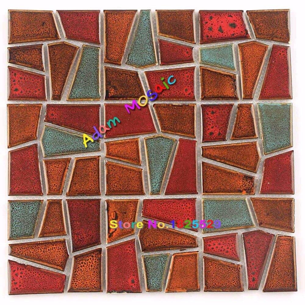 Red Tiles Irregular Building Materials Ceramic Backsplash