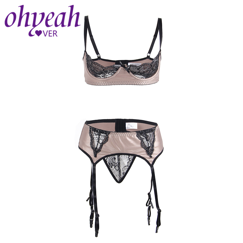 Ohyeahlover Women Open Cup Bra Set Sex Lingerie Erotic Plus Size 5XL Feminino Lace Push Up Bra Intimo Donna Sexy Hot RM80313