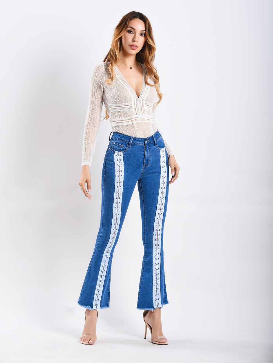 European And American Style Women's Flare Pants Mid Waist Women Long Elasticity Wide Leg Ribbon Jeans For Girls Trousers Women