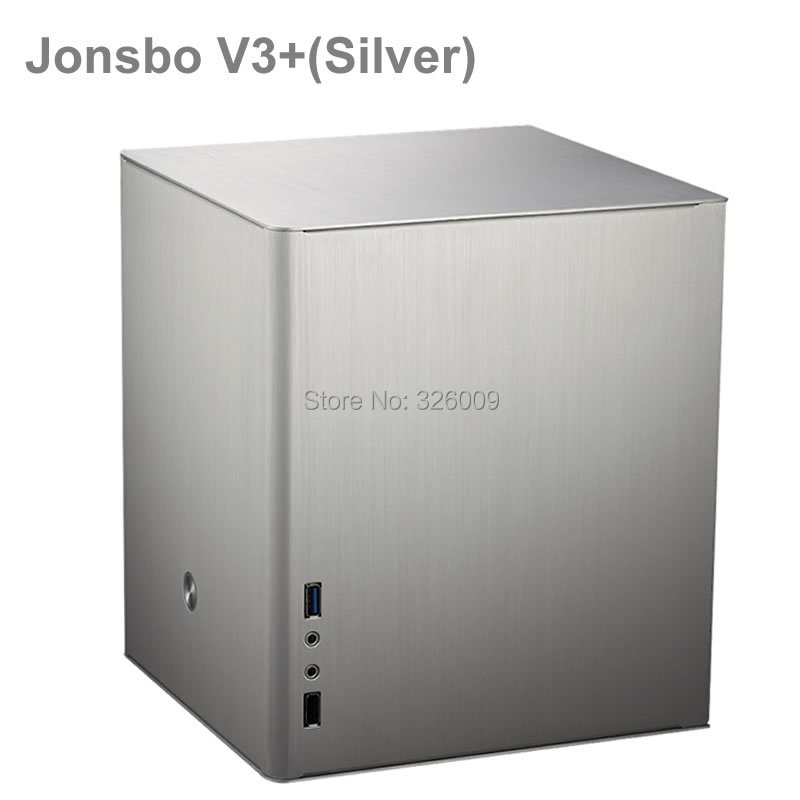 Jonsbo V3+ silver, HTPC case mini-ITX, USB3.0, 3.5'' HDD, PS2 power supply, aluminum 1.5mm, other V2, V4, U2, V6 realan industrial high quality oem mini htpc desktop case e i7 with power supply cd rom expansion slots aluminum black silver
