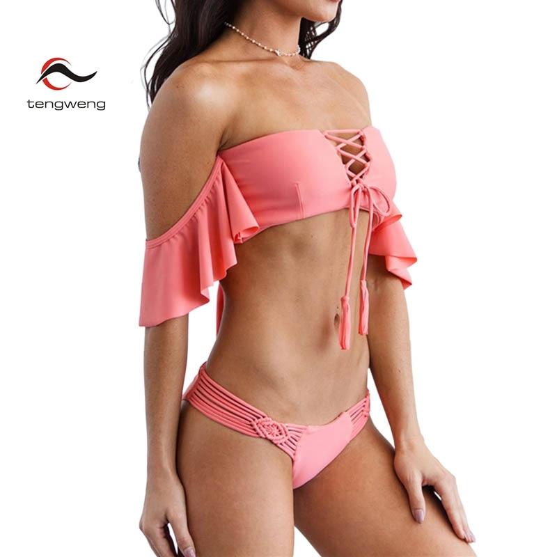 HTB1i1L3h3nH8KJjSspcq6z3QFXat - Tengweng 2019 Sexy Off shoulder Ruffle Bikini Blue Push up Women Swimwear Thong Bandeau Swimsuit Brazilian Female Bathing suit