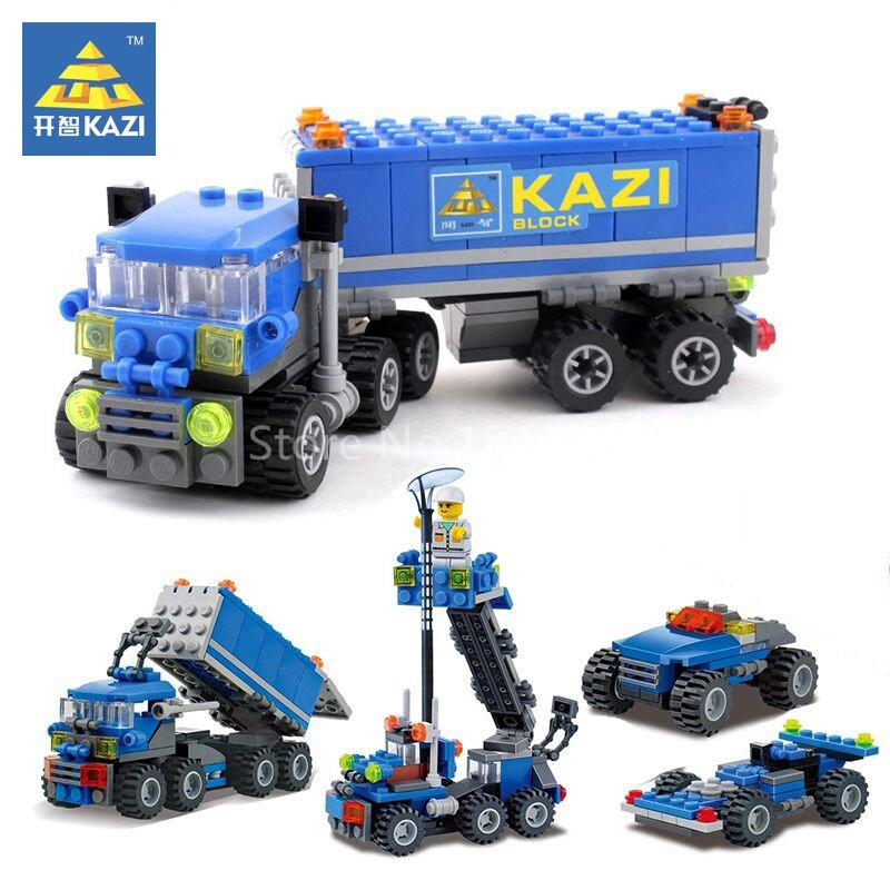 KAZI City Truck Ladder Car Model Building Kits Brick Blocks Educational Set DIY Toys For Children Festival Present For Friends decool 3114 city creator 3in1 vehicle transporter building block 264pcs diy educational toys for children compatible legoe