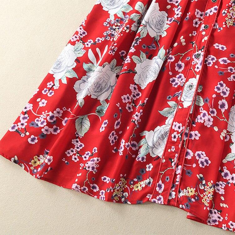 Show Robe 2018 Femmes Fleurs H507 À Mince Chemise Coton ligne A Manches Imprimé De Mode As Nouvelle D'été Occasionnel Longues Piste Rwdxz7xIq