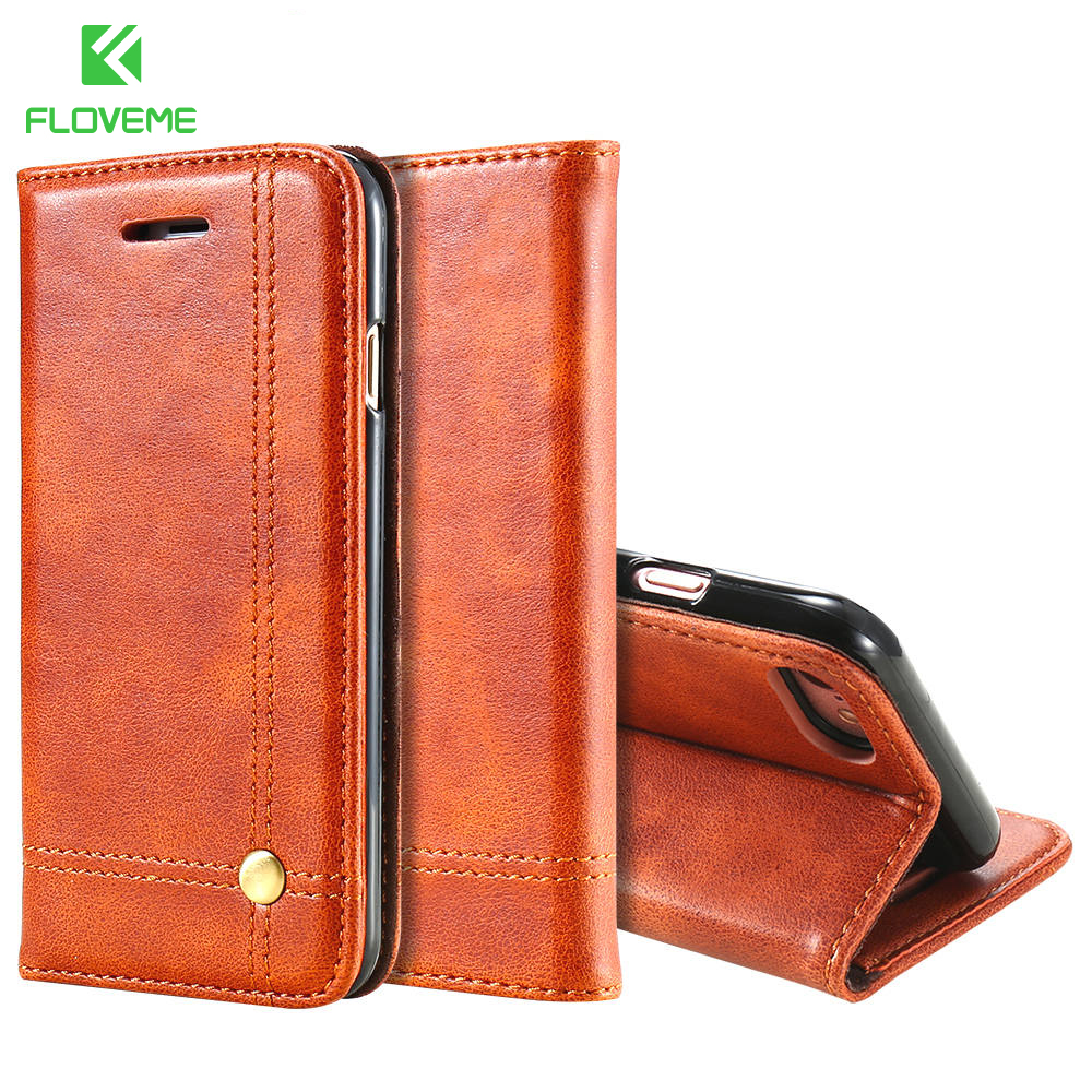 FLOVEME Leather Wallet Case For iPhone 7 7 Plus Retro