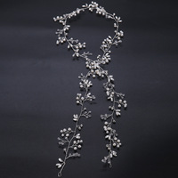 Bridal Hair Vine Crystal Wedding Headpiece Flower Bohemian Long Headband Handmade Wedding Hair Accessory