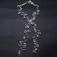 Bridal Hair Vine Crystal Wedding Headpiece Flower Bohemian Long Headband Handmade Wedding Hair Accessory