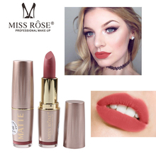 Купить с кэшбэком Miss Rose Matte Lipstick Gold Tube Lipstick for Lips Cosmetic Makeup Women Matte Lipstick Waterproof Red Lip Lipsticks