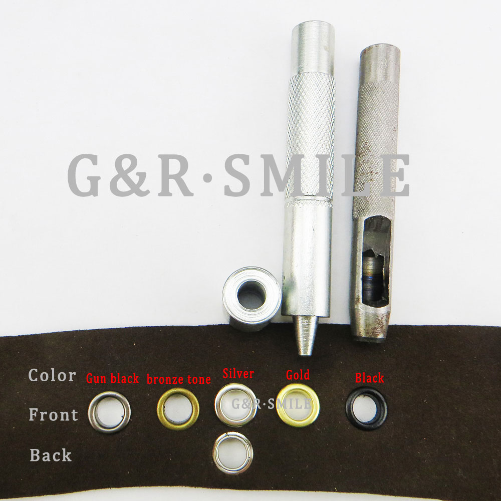 200pcs 10*4*6.5mm Mixed color metal ring eyelet round button clothes accessory leather bag eyelets shose fit ME-048