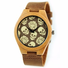 Hallowmas new popular top brand bamboo wooden men watch Person cranial head dial men/women quartz watch lovers dress wristwatch