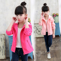 New 2017 Spring Girls Jacket & Coats Korean style girls Solid Jackets Pink and Red