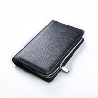 Logo Customized notebook A5 & A6 Business Zipper Bag PU Leather Organizer Planner With Calculator or Memo Pads for white collar