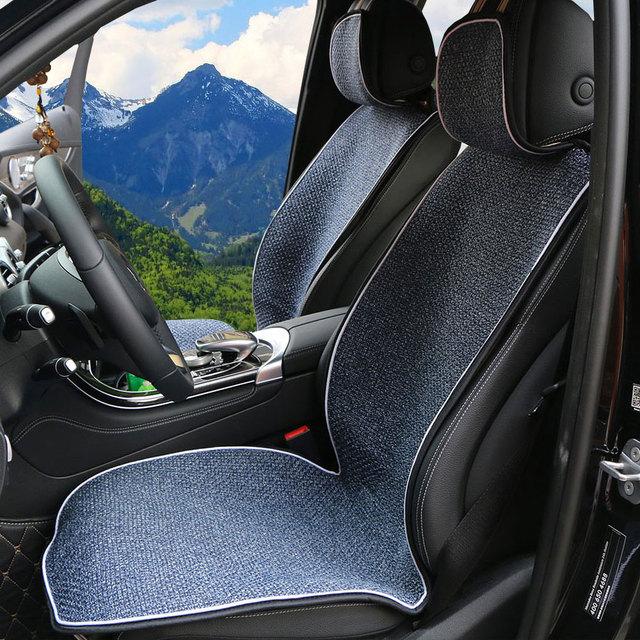Coussin de siège Auto en lin artificiel adapté à la plupart des voitures camion Suv ou Van / 2 pièces housse de siège de voiture avant ou 1 siège arrière