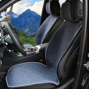 Image 1 - מלאכותי פשתן אוטומטי מושב כרית fit ביותר מכוניות משאית Suv או ואן/2 מושב קדמי חתיכה כיסוי או 1 סט חזרה מושב מכסה מחצלת