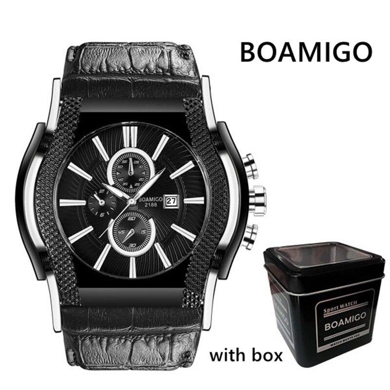 watch men luxury BOAMIGO brand men quartz watches big dial leather wristwatches auto date waterproof clock relogio masculino цена