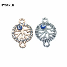 10 PCS Rose Gold/Sliver Plated Life Tree Hand Evil Blue Eye Connectors fit Jewelry Making  Accessories DIY Bracelet Necklace
