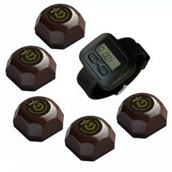 SINGCALL wireless service calling system,beeper,5 pcs coffee buttons and one wrist watch for waiter,APE6600-APE560C