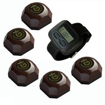 Singcall беспроводного сервиса система вызова, звуковой сигнал, 5 шт. кофе кнопки и один наручные часы для официанта, ape6600-ape560c