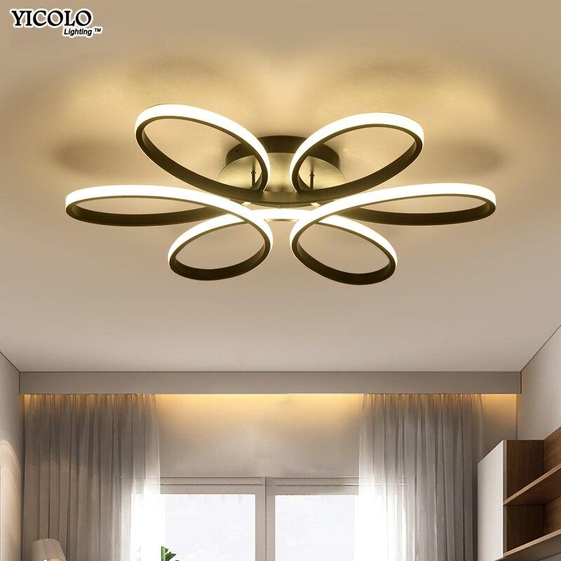 Blanc/Noir/café Moderne LED lustre pour salon chambre salle à manger corps en aluminium Gradation maison éclairage luminarias dero