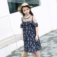 Teenage Girls Summer Dress Strapless Chiffon Floral Dresses Bohemian Beach Sundress For 12 13 14 15Y