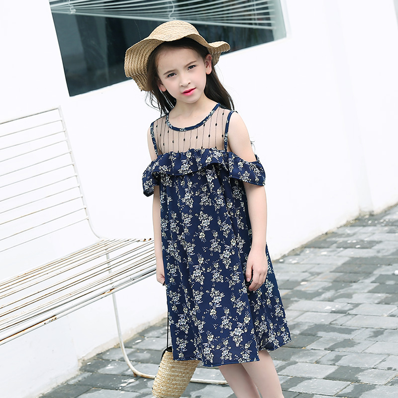 Teenage Girls Summer Dress Strapless Chiffon Floral -7197