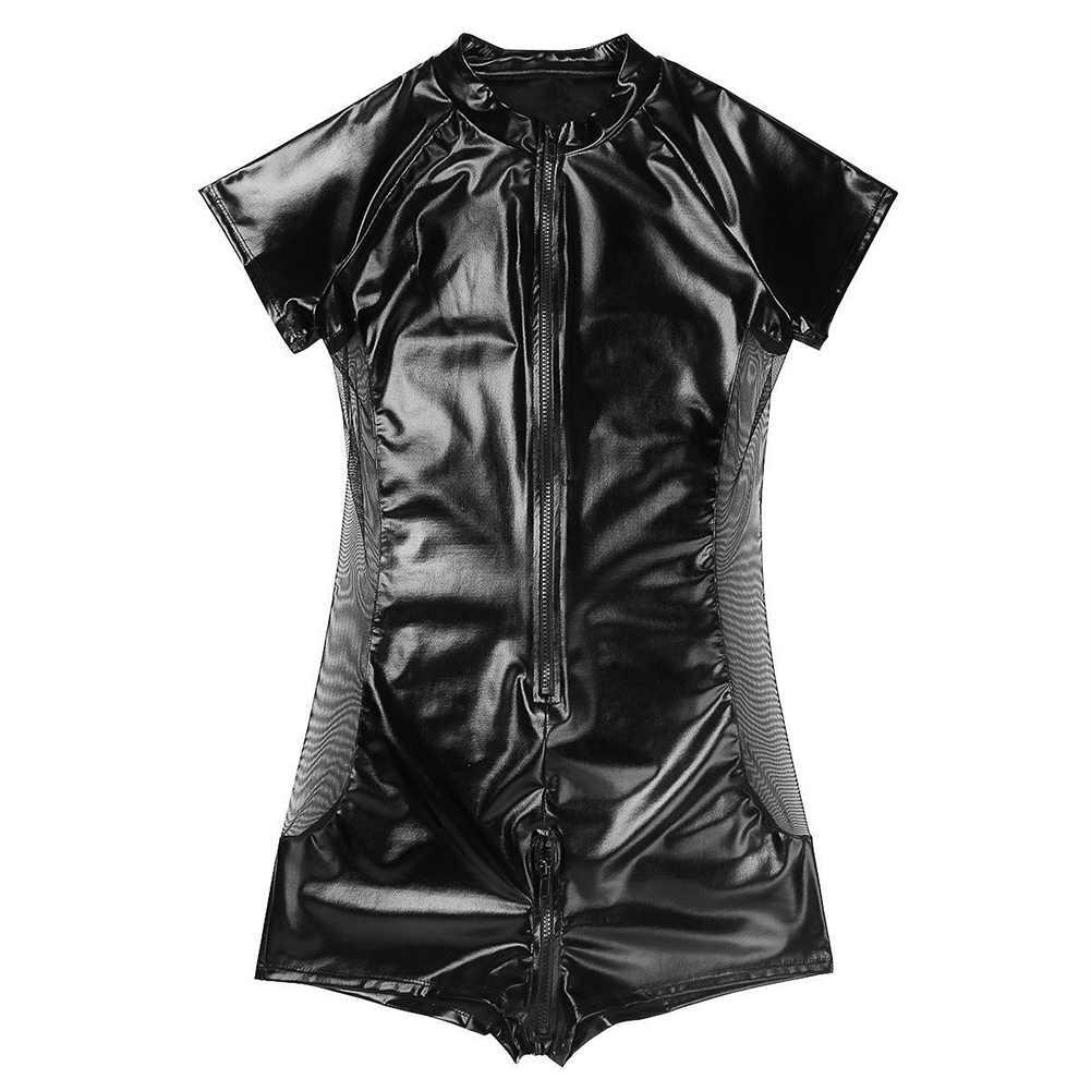 Пикантный зауженный сетчатые из искусственной кожи обтягивающий молния человек боди клубный спортивный костюм