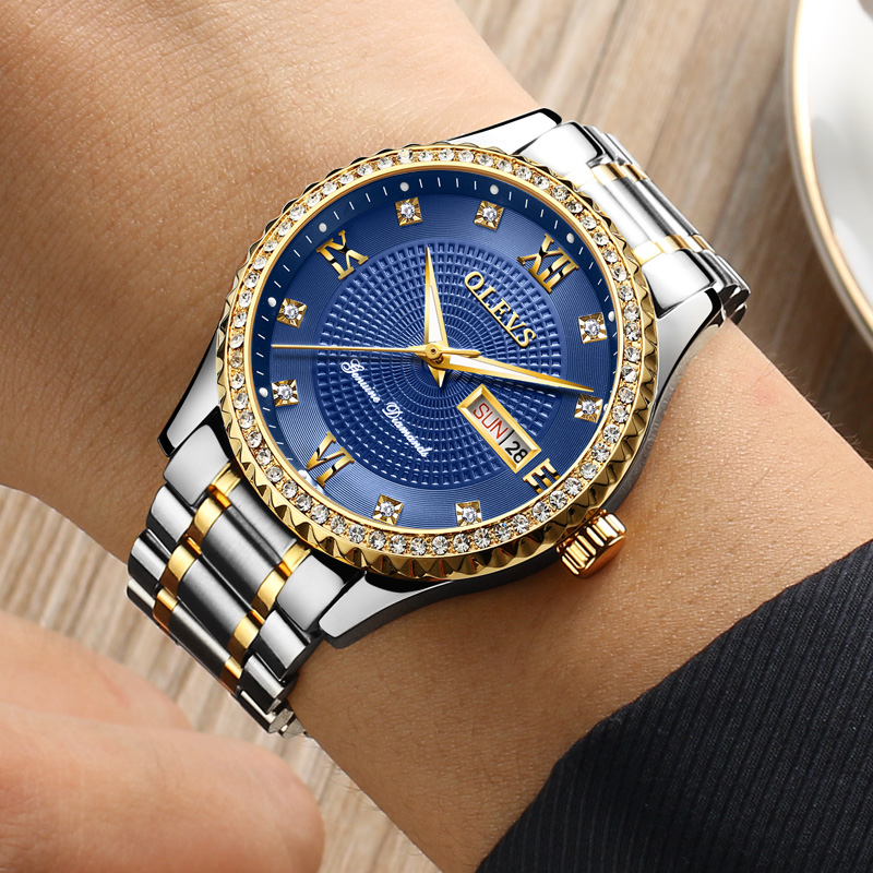 Mens Watch relojes mujer steel strip Rhinestones day date Luminous gold Quartz-watch men waterproof watch montres homme Clock