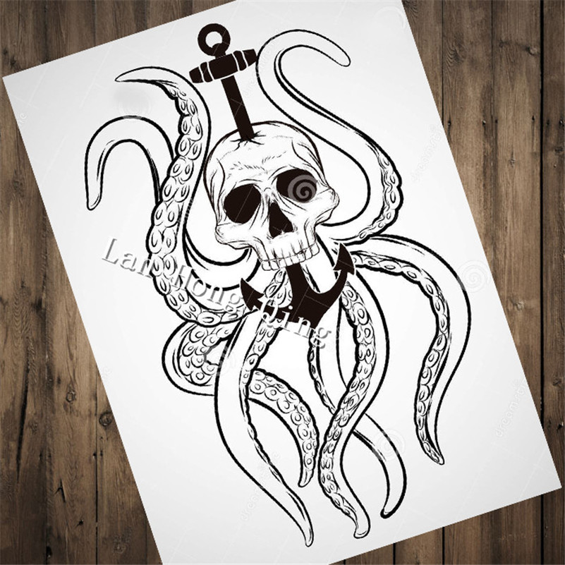 Hm 139 Top Fashion Vintage About Octopus Skull Nostalgia Hairdresser Tattoos Patterned Kraft Paper Poster Home Decor