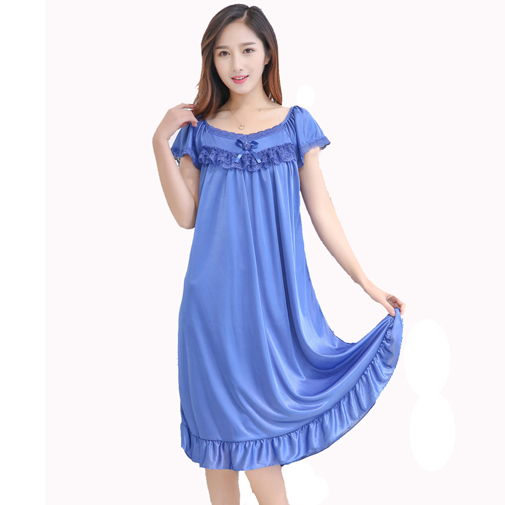 Nightgowns Sleepshirts Lace Sleepwear Women Night Dresses Sleeveless Nightwear Sexy Night Dress Nuisette Femme Nighty Gecelik