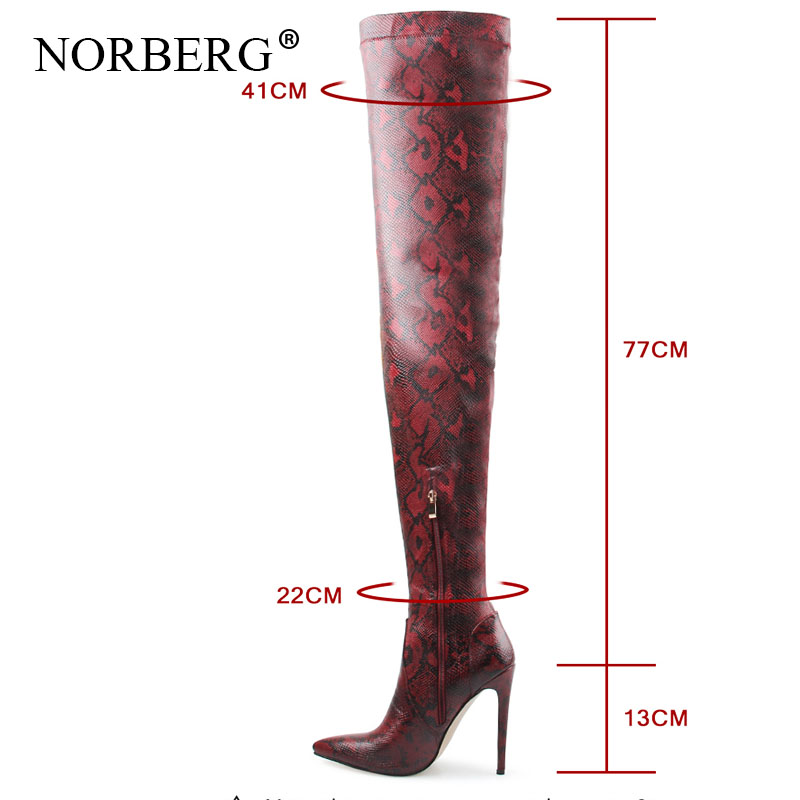 Fashion womenThigh High Over the Knee Boots Snakeskin Pointed Toe Super Thin High Heels Long Boots Bottine winter Woman Shoes