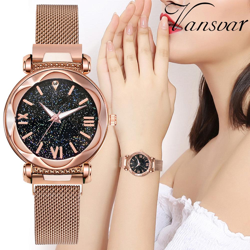 Women Magnetic Buckle Starry Sky Roman Number Watches Ladies Flower Surface Quartz Wrist Watch Clock Relogio Feminino DROPSHIP