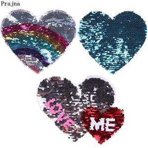 Prajna Love Heart Patches Sewing On Reversible Change Color Patches For Clothing Rainbow Sequins Patch Applique For Kids T-shirt