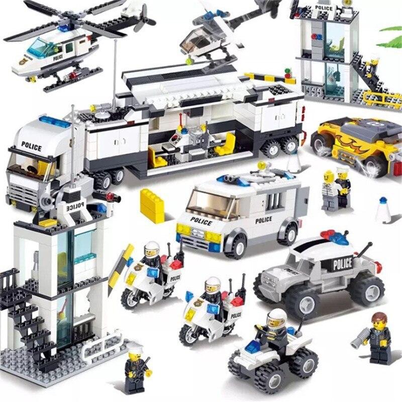 536 stücke Bausteine Polizei Station Gefängnis Figuren Kompatibel Legoing Stadt Erleuchten Ziegel Spielzeug Für Kinder Lkw Hubschrauber