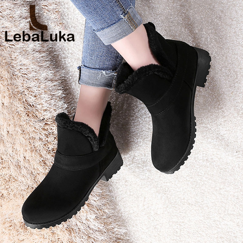 Tuyoki Shoes Woman Snow-Boots Black Winter Warm Plush Ankle Footwear 34-52-Size Wholesale