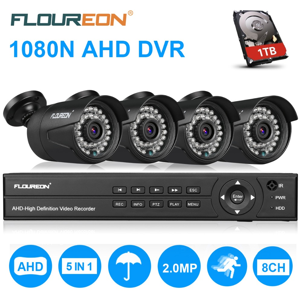 FLOUREON CCTV Security Camera system 8CH 5in1 1080N AHD DVR 4 pcs Outdoor 3000TVL 1080P 2.0MP Camera Security Kit