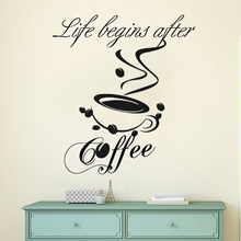 Coffee Quote Vinyl Wall Sticker Kitchen Cafe Shop Decoration Coffee Cup Wall Decal Removable Cafe Logo Wall Art Mural AY1209 coffee time waterproof cup wall sticker