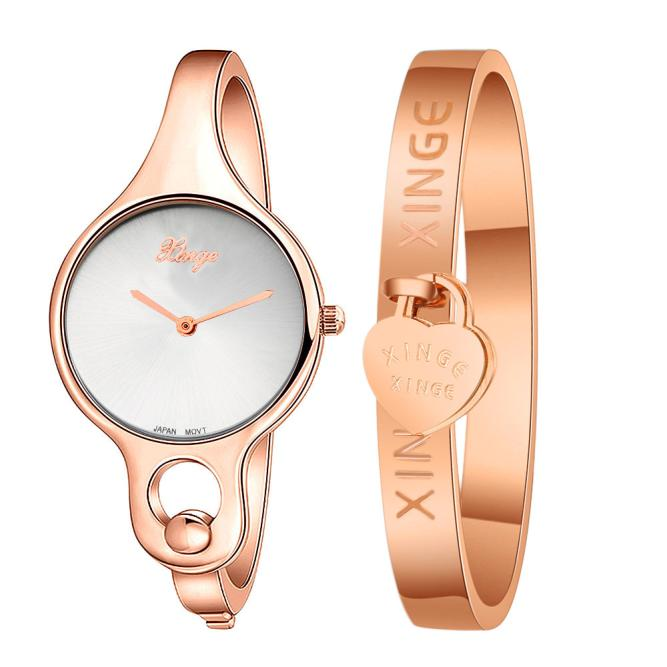 XINGE Brand Women lady dress watch Gold Rose  Rhinestone Bangle Watch Bracelet Sets spring big sale brand bs luxury 14k gold diamond women watch lady gold siliver dress watch rhinestone bangle bracelet