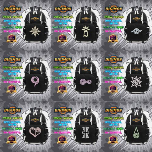 Digimon Adventure Digital Monster Courage/Friendship/Love/Hope Badge Symbol Leisure Daily Backpack School Bag Notebook Backpack